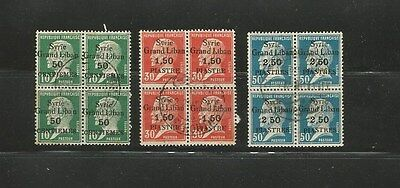 FRENCH COLONIES -Overprint GRAND LIBAN Syrie- 3 BLOCK OF 4 USED STAMPS Lot - 71)