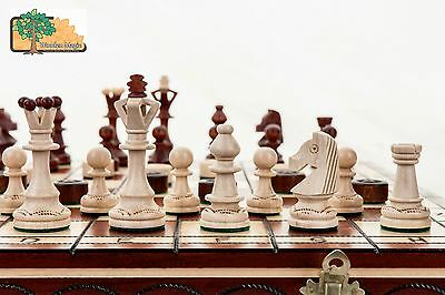 Massive Chess and Draughts / Checkers Hornbeam Wooden Set 43x43cm -
