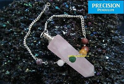 Rose Quartz Crystal Obelisk Precision Pendulum + Chakra Beaded Chain Healing