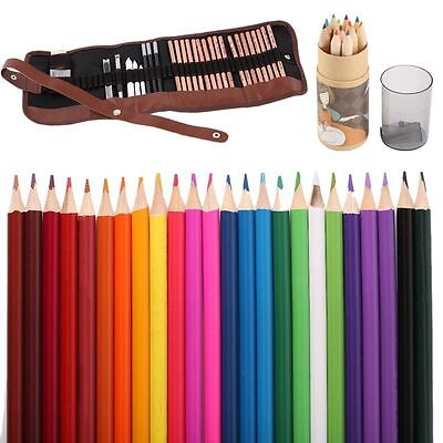 Best 12pcs Watercolour Pencils Case Drawing Coloring Set With Sharpener new OK