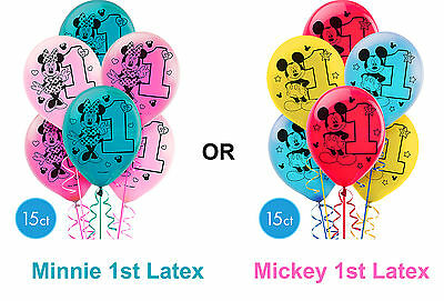 Mickey 1st Or Minnie 1st Birthday Party Supplies LATEX BALLOONS Pack Of 15 NEW