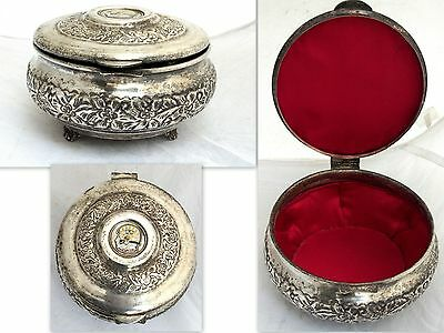 Vintage Arabian Military Silver Plated Box Code of Arms Soldier Army Islamic