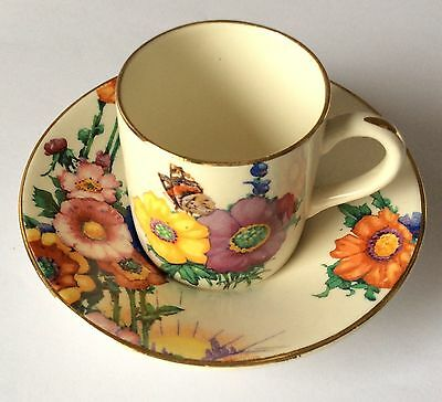 Vintage 1930s Losol Ware Hampton coffee can and saucer by Keeling & Co Ltd.