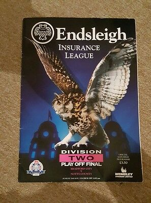 Divison 2 Play Off Final Programme 1996 - Bradford City vs Notts County