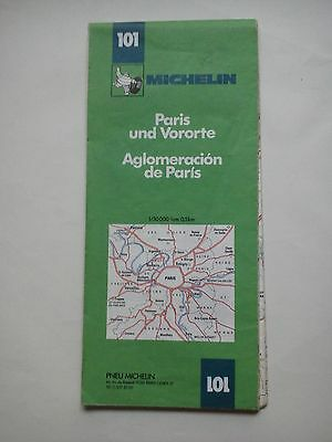 Vintage 1981 Michelin Map of France No. 101 Outskirts of Paris