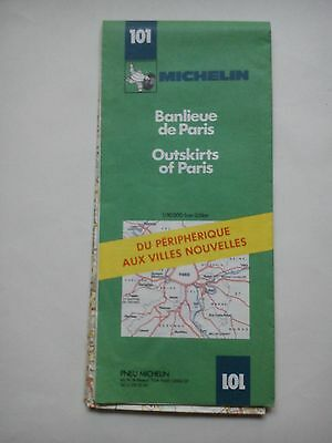 Vintage 1985 Michelin Map of France No. 101 Outskirts of Paris