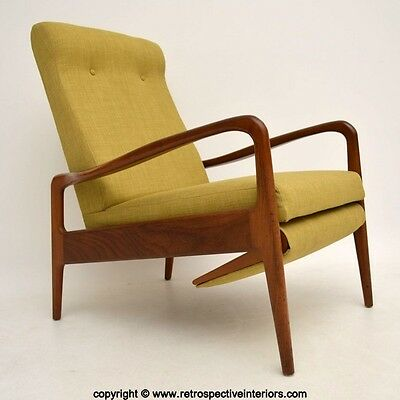RETRO TEAK RECLINING ARMCHAIR BY GREAVES & THOMAS VINTAGE 1960's