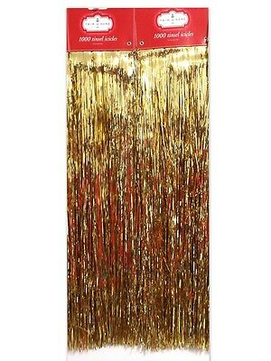 "19"" Premium Gold Tree Tinsel Icicles 2000 Count"