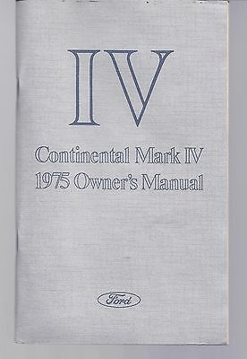 1975 Original Lincoln Continental  Owners Manual