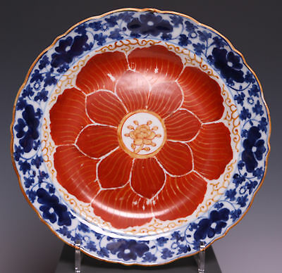 Chinese iron red & blue decorated porcelain lotus plate, ca. 1800,