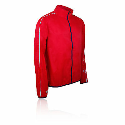 Higher State Hombre Rojo Mangas Largas Completa Running Deporte Chaqueta Top