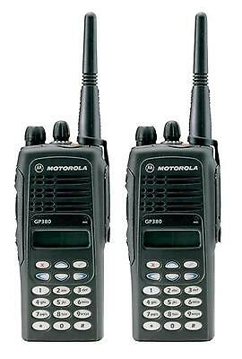 MOTOROLA GP380 UHF 4 WATT TWO WAY WALKIE-TALKIE RADIOS & G-SHAPE EARPIECES x 2
