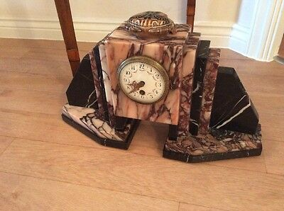 Large Art Deco Marble Cased Mantle Clock
