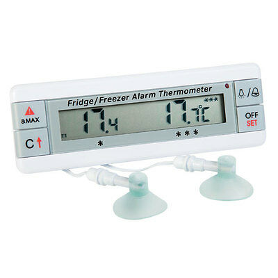 Fridge and Freezer alarm thermometer with two sensors