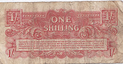 British Armed Forces One Shilling Note. 2nd Series. Rarer metal strip