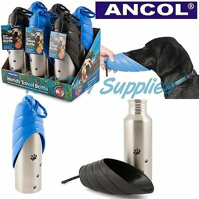 Ancol Dog Puppy Food Water Travel Portable Stainless Steel Drinking Bottle 750ml