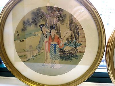 Antique Japanese Pair of Paintings on Raw Silk Gold Framed