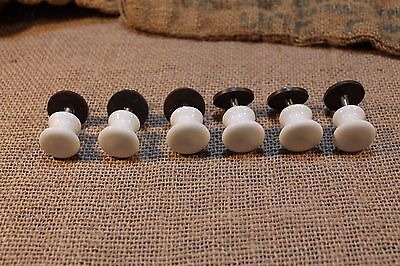 6 vintage white porcelain cabinet knobs drawer pulls