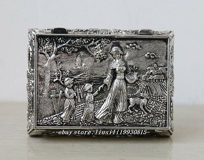 Old Decorated Handwork Miao Silver Carving belle big Jewel Box