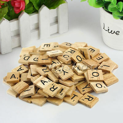 100 Wooden Alphabet Scrabble Tiles Black Letters & Numbers For Crafts Wood F5