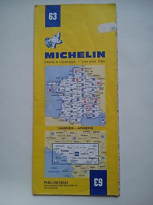Vintage 1963 1:200,000 Michelin Map of France No.63 Vannes - Angers