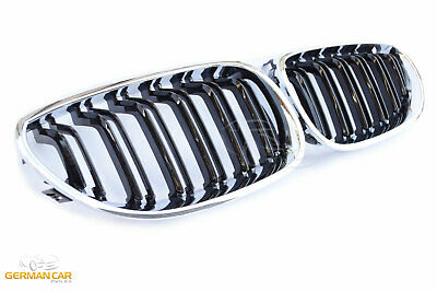 Grille  For Bmw E60 E61 Grille Kidney Double Slat M5 Look Chrome Black