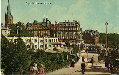 1900s Postcard Trams in The Square BOURNEMOUTH Dorset