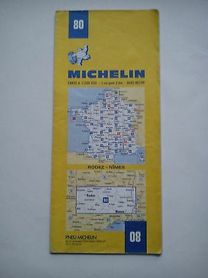 Vintage 1979/80 1:200,000 Michelin Map of France No.80 Rodez - Nimes