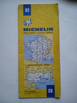 Vintage 1979 1:200,000 Michelin Map of France No.83 Carcassonne - Nimes