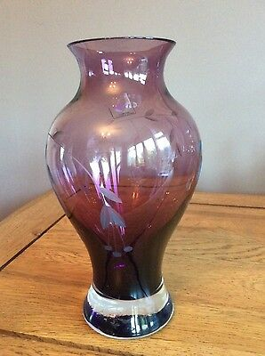 Caithness Amethyst Purple Etched Vase