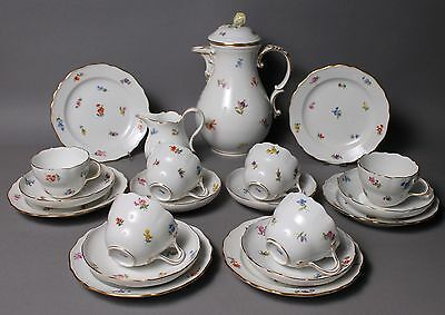 20 pc Meissen Crossed Swords Scattered Flowers Coffee Service Set For 6 Persons