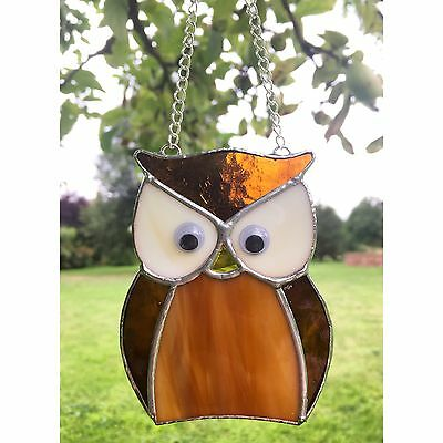 Handmade Stained Glass Owl Suncatcher, Brown Bird, Glass Gift Decorations