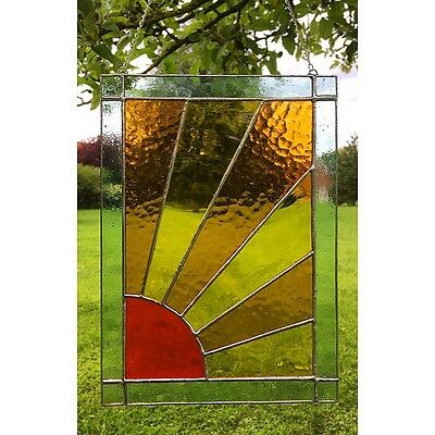 Stained Glass Sun Panel Suncatcher Window Wall Decoration, Sunburst