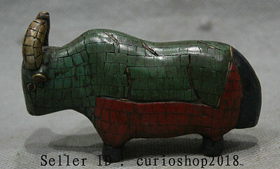 Old Chinese Folk Turquoise Bronze Zodiac Year Bull Oxen Animal Statue Sculpture