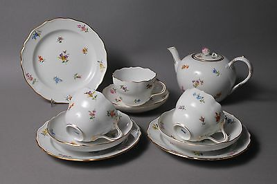 Meissen Crossed Swords Scattered Flowers 3 Trio Coffee Sets + Small Tea Pot 2nd