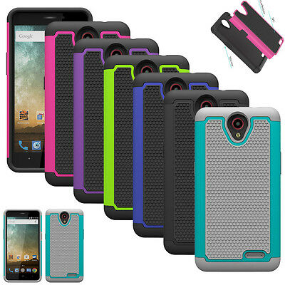 For ZTE Maven 2 Z831 AT&T Case Hybrid Armor Matte Tough Protective Phone Cover