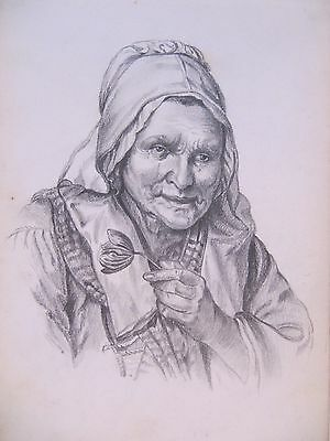 19th CENTURY, FRENCH, Pencil Drawing, ELDERLY WOMAN HOLDING A FLOWER