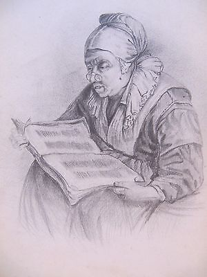 19th CENTURY, FRENCH, Pencil Drawing, ELDERLY WOMAN READING
