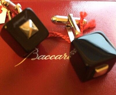 Baccarat Cube Cufflinks 925 Sterling Silver Black 'lucky B' Boxed New Rrp £190