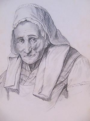 19th CENTURY, FRENCH, Pencil Drawing, ELDERLY WOMAN