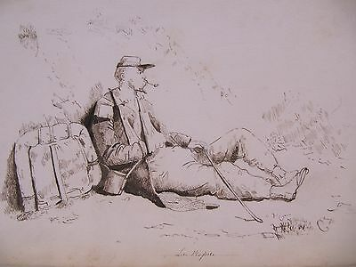 19th CENTURY, FRENCH, Ink Drawing, 'LE REPOS'