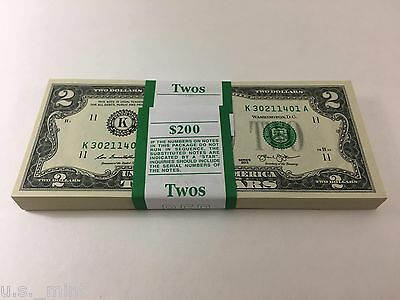 100 New Uncirculated Two 2 Dollar Bills $2 Bills Fast Free Shipping