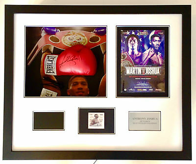 Anthony Joshua autographed glove framed with digital video screen