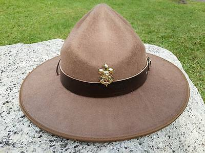 BOY SCOUT Thailand HAT Wool Campaign troop cowboy badge pin vtg brown Leather