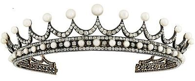 ANTIQUE INSPIRED11.20ct ROSE CUT DIAMOND & PEARL SILVER CHRISTMAS SPECIAL TIARA