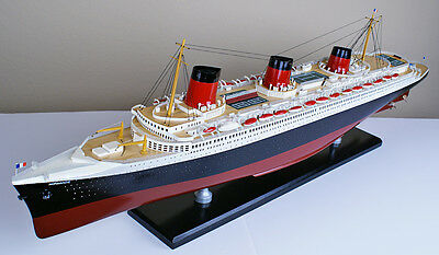 """SS NORMANDIE 40"""" wood ship model cruise passenger French boat"""