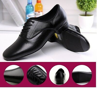 Men's Genuine Leather Rubber Outsole Latin Dance Shoes Ballroom Modern Shoes