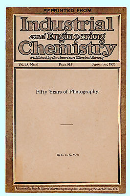 Fifty Years of Photography by C.E.K. Mees - Reprint September 1926, 6 pages