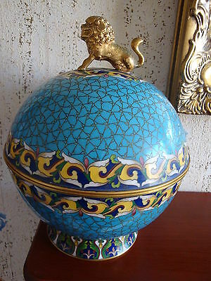 Chinese cloissonne lidded pot