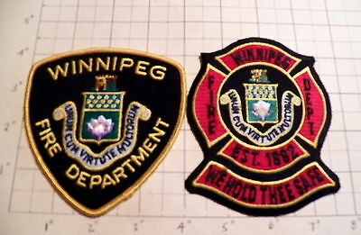 Winnipeg (MB,Canada) Fire Department Patches - Set of 2